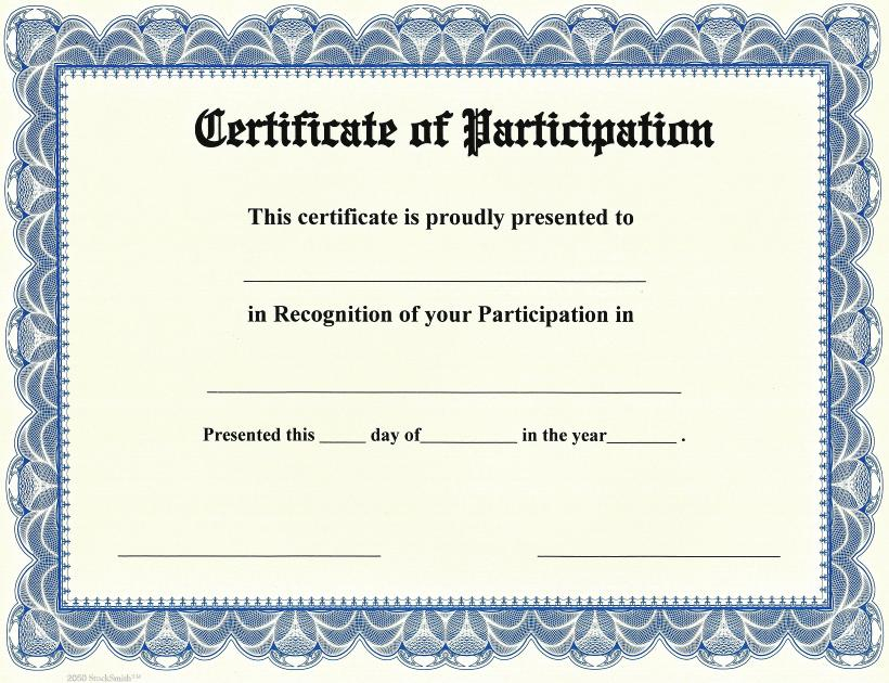 Participation Award Certificate Template  PDF Template With Participation Certificate Templates Free Download Pertaining To Participation Certificate Templates Free Download