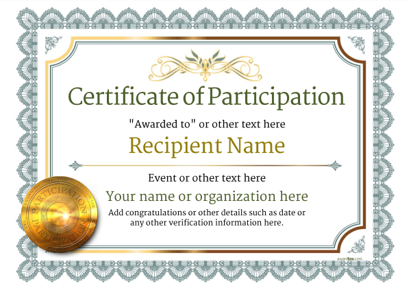 Participation Certificate Templates - Free, Printable, Add badges  With Participation Certificate Templates Free Download With Regard To Participation Certificate Templates Free Download
