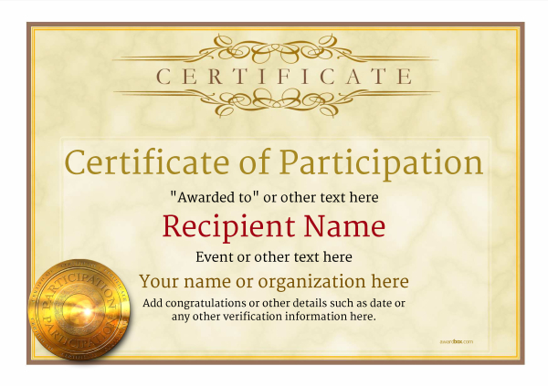 Participation Certificate Templates - Free, Printable, Add badges  With Regard To Participation Certificate Templates Free Download With Participation Certificate Templates Free Download