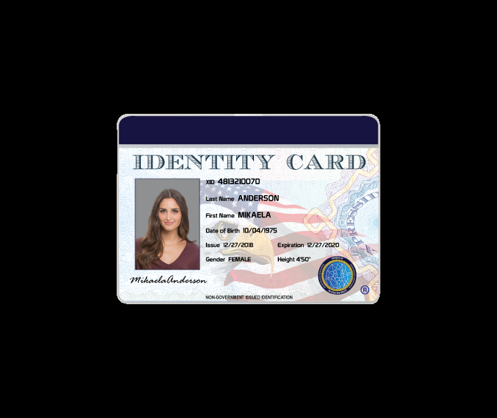 Personal ID Badge Template Horizontal  XpressID Intended For Personal Identification Card Template Pertaining To Personal Identification Card Template