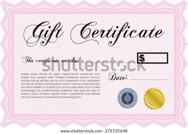 Pink Gift Certificate Template Stock Vector (Royalty Free) 11 Inside Pink Gift Certificate Template Throughout Pink Gift Certificate Template