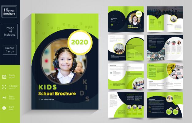 Premium Vector  Abstract school kids brochure template Intended For School Brochure Design Templates With School Brochure Design Templates