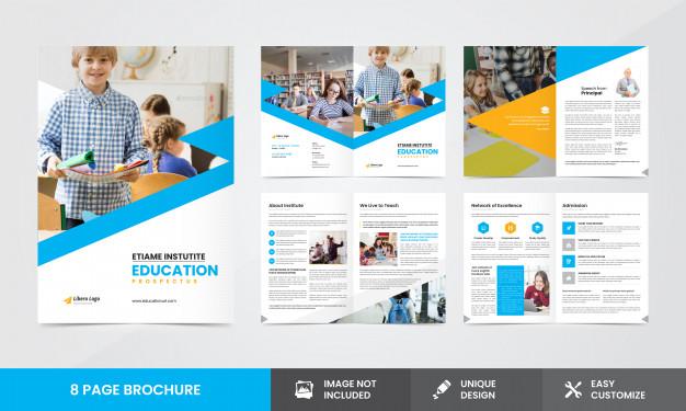 Premium Vector  Education company brochure template In School Brochure Design Templates Inside School Brochure Design Templates