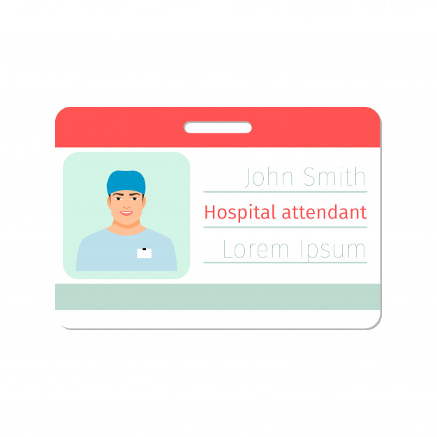 Premium Vector  Hospital attendant medical specialist id card  Pertaining To Hospital Id Card Template With Hospital Id Card Template
