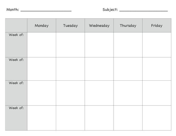 Preschool Lesson Plan Template (11) - Daily, Weekly, Monthly Inside Blank Preschool Lesson Plan Template Pertaining To Blank Preschool Lesson Plan Template