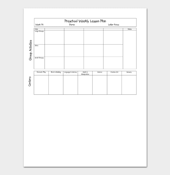 Preschool Lesson Plan Template - Daily, Weekly, Monthly (For Word  For Blank Preschool Lesson Plan Template