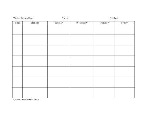 Preschool Lesson Plan Templates ~ Addictionary In Blank Preschool Lesson Plan Template Intended For Blank Preschool Lesson Plan Template