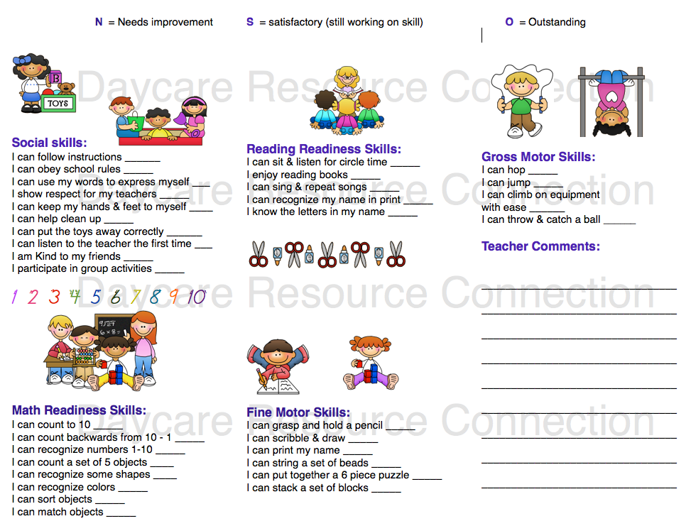 Preschool Printable Daily Reports For Preschool Weekly Report Template With Preschool Weekly Report Template