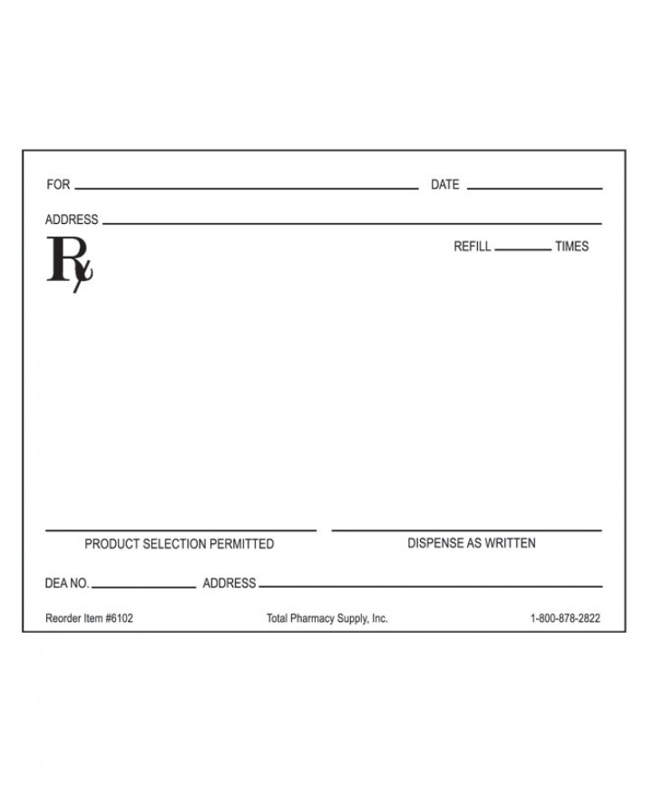 """Prescription Blank, Horizontal Layout, Right """"D.A.W With Regard To Blank Prescription Pad Template"""