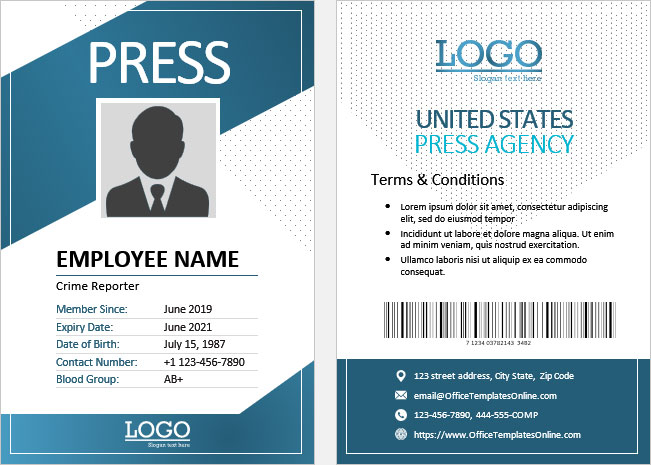 Print-Ready ID Card Templates for MS Word  Office Templates Online Pertaining To Employee Card Template Word Within Employee Card Template Word