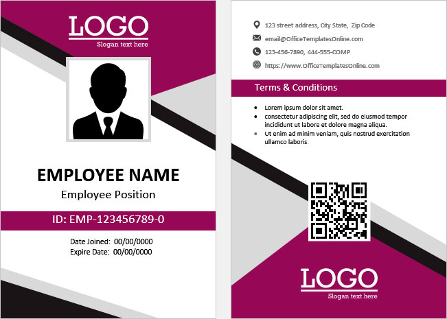 Print-Ready ID Card Templates for MS Word  Office Templates Online With Regard To Employee Card Template Word Intended For Employee Card Template Word