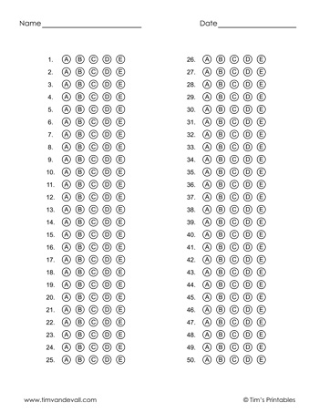 Printable Answer Sheet Templates PDF for Multiple Choice Tests In Blank Answer Sheet Template 1 100 Within Blank Answer Sheet Template 1 100
