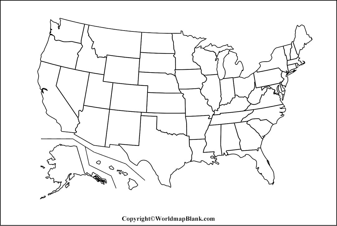 Printable Blank Map of USA- Outline, Transparent, PNG Map With United States Map Template Blank Throughout United States Map Template Blank