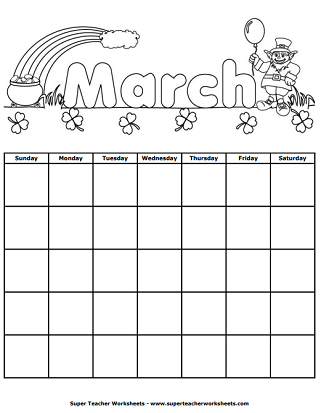Printable Calendars for Kids Throughout Blank Calendar Template For Kids For Blank Calendar Template For Kids