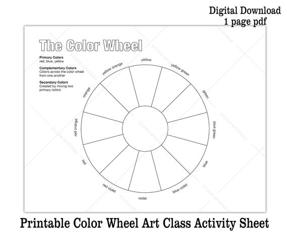 Printable Color Wheel Kids Art Class Activity Sheet Digital Download  Coloring Sheet  Black and White Color Theory Worksheet Pertaining To Blank Color Wheel Template In Blank Color Wheel Template