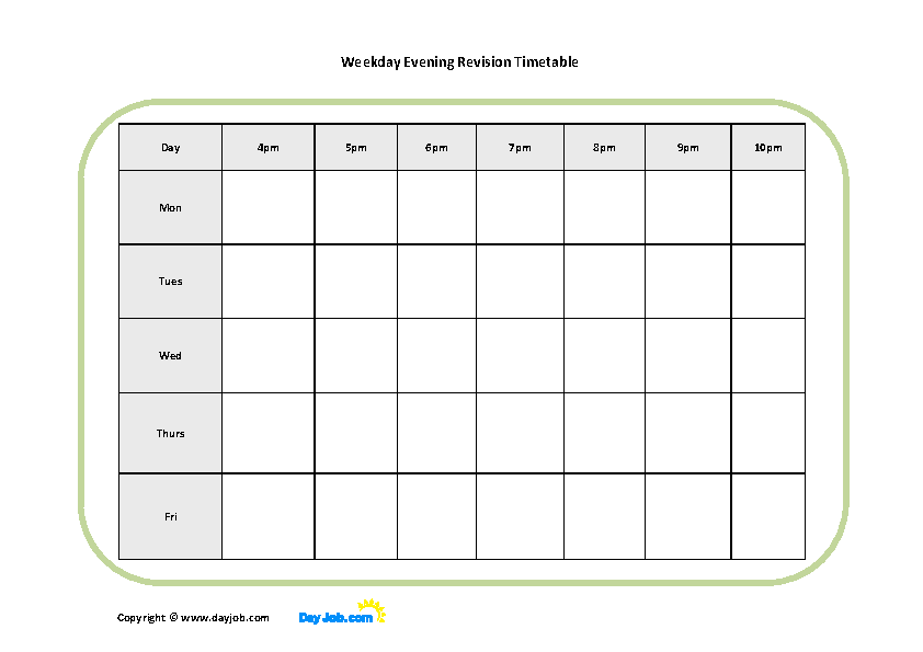 Printable Evening Revision Timetable Template - PDFSimpli Throughout Blank Revision Timetable Template Inside Blank Revision Timetable Template