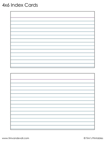 Printable Index Cards 11×11 PDF For 4x6 Note Card Template Pertaining To 4x6 Note Card Template