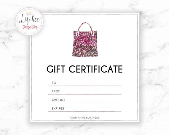 Printable Pink Silver Glitter Certificate Template  Editable Photography  Studio Gift Card design  Photoshop template PSD INSTANT DOWNLOAD Intended For Pink Gift Certificate Template Throughout Pink Gift Certificate Template
