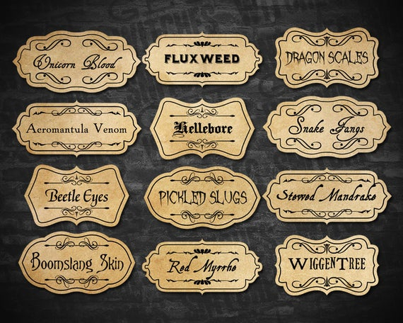 Printable Potion Ingredient Labels, Magic Potion Ingredient Labels, Magical  Potion Party Printables, Halloween Potions, Instant Download Within Harry Potter Potion Labels Templates Regarding Harry Potter Potion Labels Templates