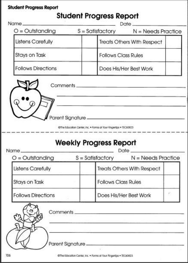 Printable Weekly Preschool Progress Reports Yahoo Image Search  Pertaining To Preschool Weekly Report Template Throughout Preschool Weekly Report Template