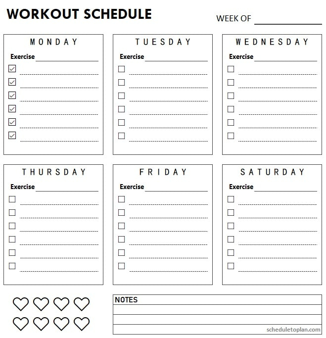Printable Workout Schedule Template Free - Exercise Log Weekly  Regarding Blank Workout Schedule Template Intended For Blank Workout Schedule Template