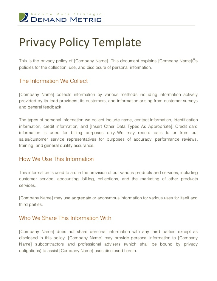 Privacy Policy Template Inside Company Credit Card Policy Template In Company Credit Card Policy Template