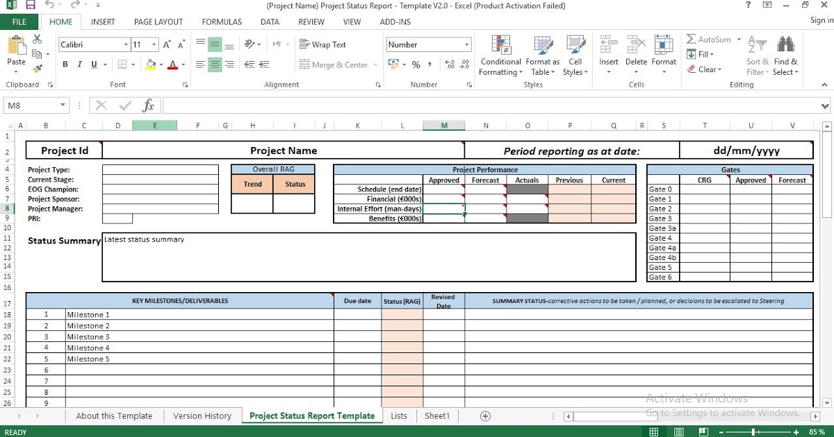 Project Status Report Excel Template Within Project Portfolio Status Report Template Intended For Project Portfolio Status Report Template