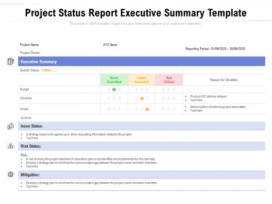 Project Status Report Executive Summary Template Ppt PowerPoint  Pertaining To Executive Summary Project Status Report Template Inside Executive Summary Project Status Report Template