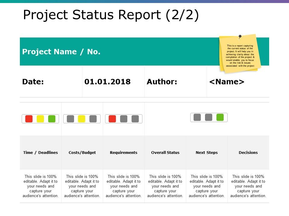 Project Status Report Ppt Background Template  PowerPoint  In Project Portfolio Status Report Template Intended For Project Portfolio Status Report Template