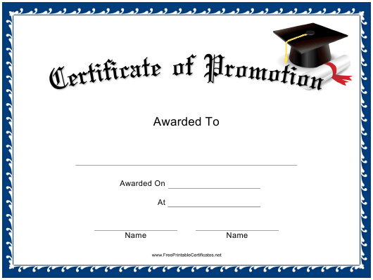 Promotion Certificate Template Download Printable PDF  Templateroller With Regard To Promotion Certificate Template With Regard To Promotion Certificate Template