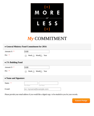 Quick and Easy Church Pledge Form Template  JotForm With Free Pledge Card Template Within Free Pledge Card Template