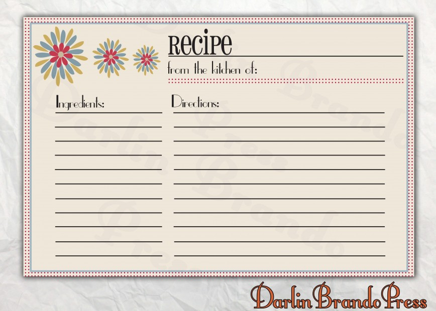 Recipe Card Template For Word ~ Addictionary In Fillable Recipe Card Template For Fillable Recipe Card Template