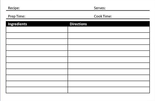 Recipe Card Template - Microsoft Word - Blank Card Intended For Free Recipe Card Templates For Microsoft Word