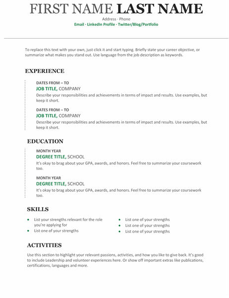 Resume Templates Regarding Microsoft Word Resumes Templates For Microsoft Word Resumes Templates