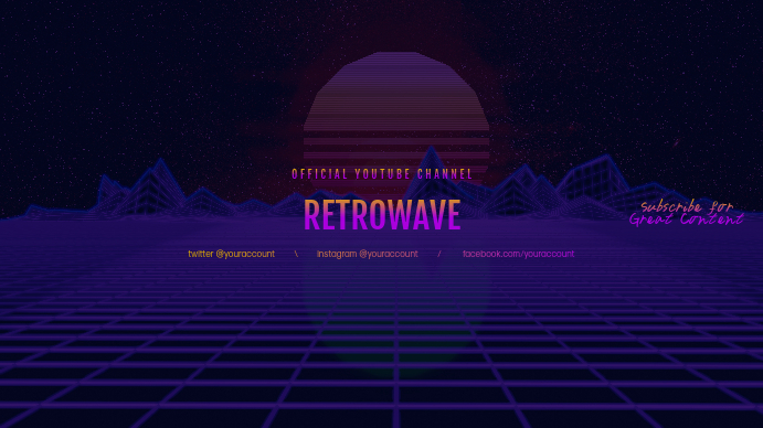 Retrowave youtube channel art banner Template  PosterMyWall In Yt Banner Template Pertaining To Yt Banner Template