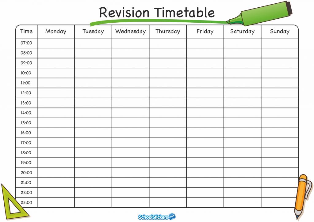 Revision Timetable Blank Revision Timetable Blank Test Pinterest  Within Blank Revision Timetable Template Throughout Blank Revision Timetable Template
