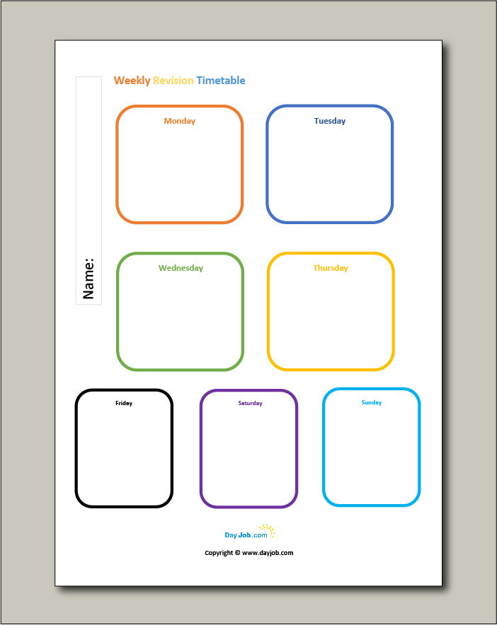 Revision timetable, template, online, free, GCSE, blank, printable  Inside Blank Revision Timetable Template With Blank Revision Timetable Template