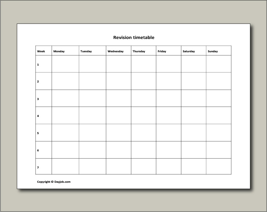 Revision timetable, template, online, free, GCSE, blank, printable  Pertaining To Blank Revision Timetable Template Regarding Blank Revision Timetable Template