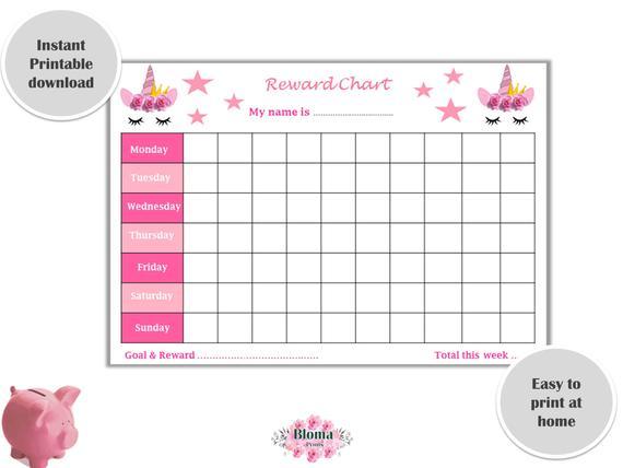 Reward Chart Unicorn PRINTABLE - Children/Kids reward chart download -  Behaviour chart digital - Pink Unicorn - Girl Weekly Reward chart Pertaining To Blank Reward Chart Template Intended For Blank Reward Chart Template