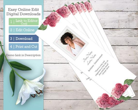 Roses Memorial Card Template - Memorial Bookmark, Funeral Prayer Card -  Editable DIGITAL DOWNLOAD In Remembrance Cards Template Free Within Remembrance Cards Template Free