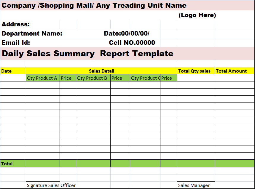 Sales Summary Report Template – Free Report Templates In Good Report Templates With Good Report Templates