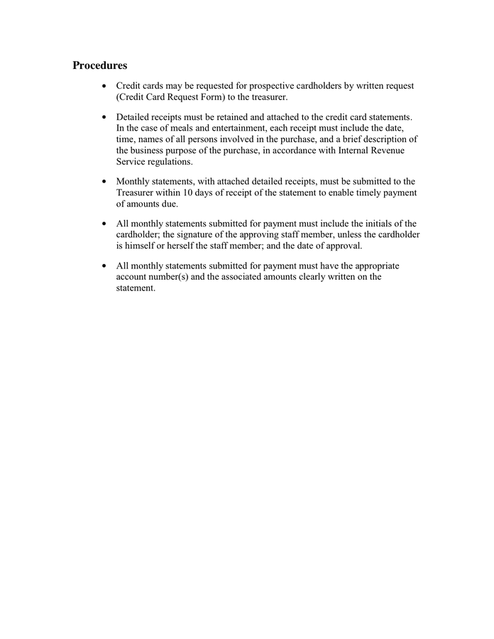Sample Credit Card Policies and Procedures in Word and Pdf formats  With Regard To Company Credit Card Policy Template Intended For Company Credit Card Policy Template