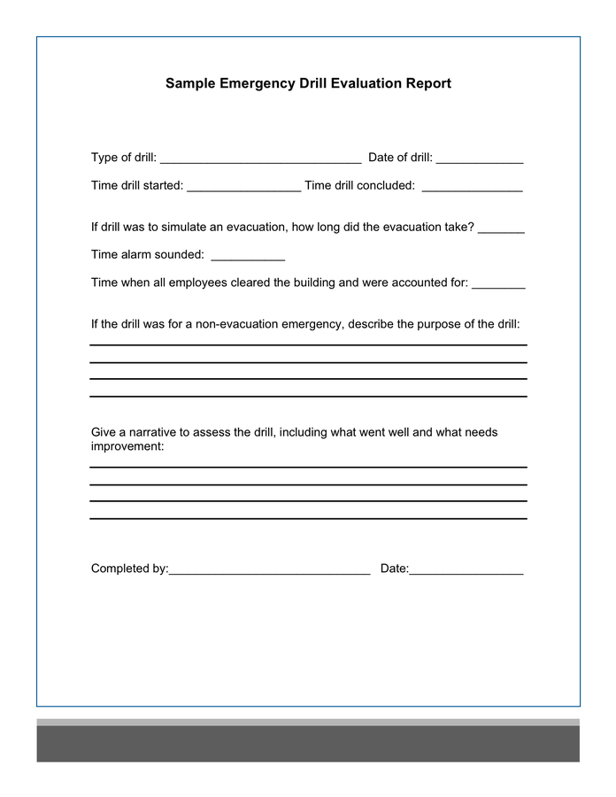 Sample emergency drill evaluation report in Word and Pdf formats Pertaining To Emergency Drill Report Template Within Emergency Drill Report Template
