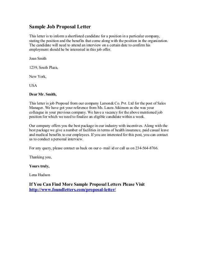 Sample Job Proposal Letter Within New Position Proposal Template With New Position Proposal Template