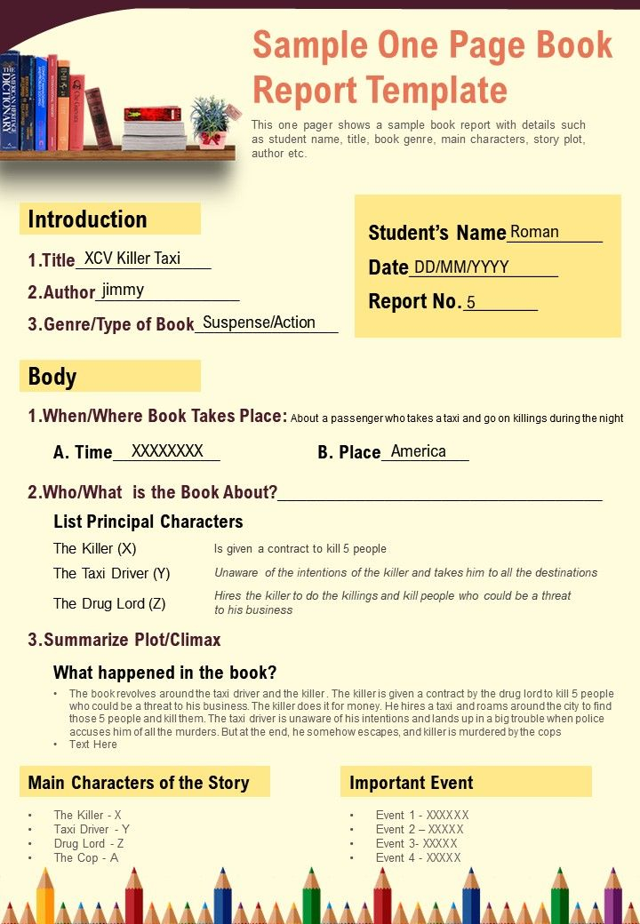 Sample One Page Book Report Template Presentation Report  Inside One Page Book Report Template Inside One Page Book Report Template