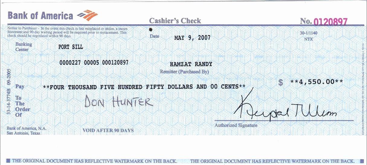 Sample Printable Cashier Checks (Page 11) - Line.111QQ For Cashiers Check Template