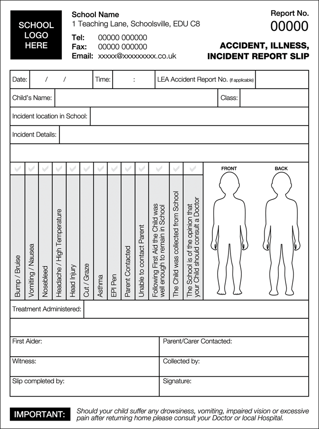 School Accident Forms & Injury Forms  NCR Pads Ltd Within First Aid Incident Report Form Template