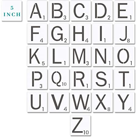 Scrabble Style Stencil Alphabet Large Letter Stencils - 11 Inch 11 Mil Mylar  Stencil Template for Tile Wall Decor Art  11x11 INCH Stencil  11 With Regard To Large Letter C Template