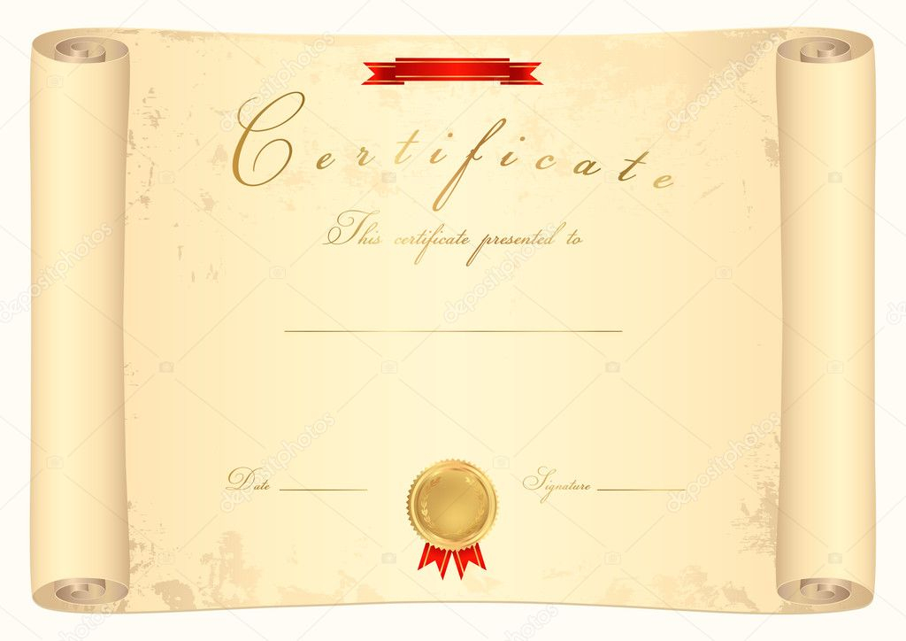 Scroll certificate (diploma) of completion (template) Pertaining To Certificate Scroll Template