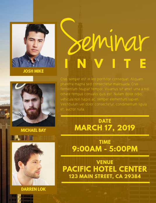 Seminar Invite Flyer Template  PosterMyWall With Seminar Invitation Card Template Inside Seminar Invitation Card Template